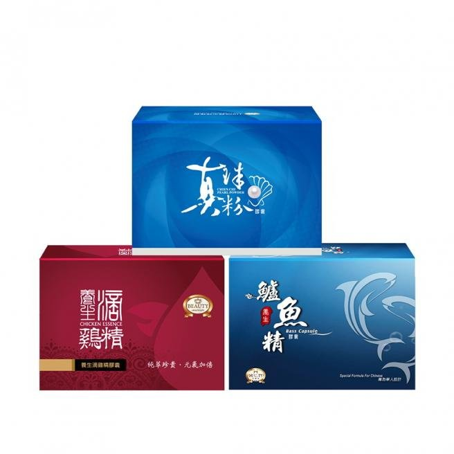 【Beauty Shop】Distilled Chicken Essence+Bass Extract Capsules X1+CHIEN CHI Pearl Powder CapsulesX1