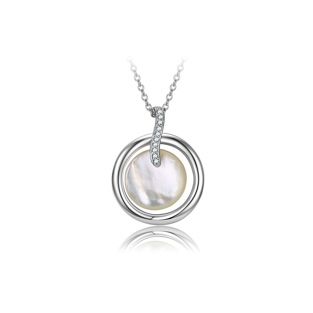 【FALAIYA x LA BELLE VIE】White pure mother of pearl and white oxyde necklace_XF1518naw