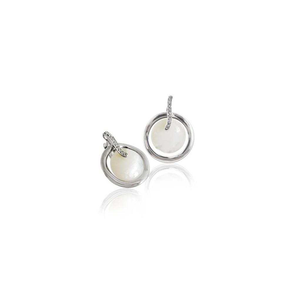 【FALAIYA x LA BELLE VIE】White pure mother of pearl and white oxyde earrings_EF1518naw