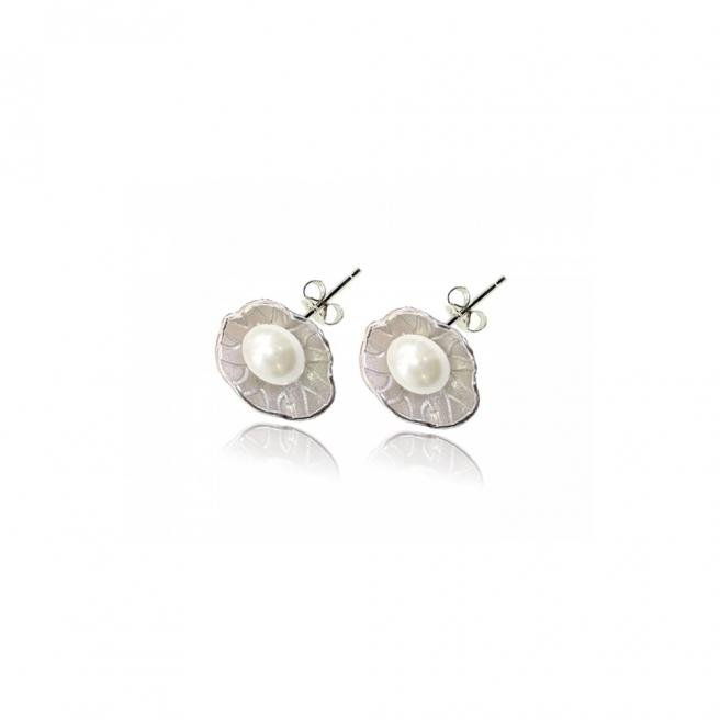 【FALAIYA x LA BELLE VIE】Lotus shaped white natural pearl earrings_EF2174pew