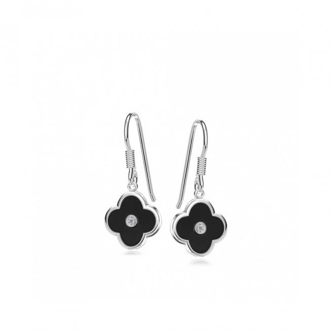 【FALAIYA x LA BELLE VIE】luckyheart with black ceramic and whiteearrings_EF2103cen