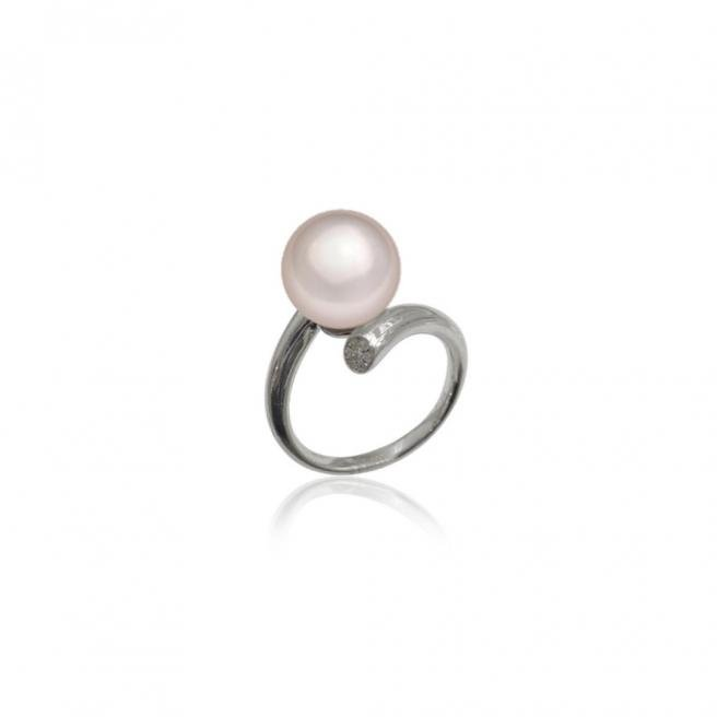 【FALAIYA x LA BELLE VIE】Synthetic round pearl with an oxyde zirconium setted ring_SJ0006