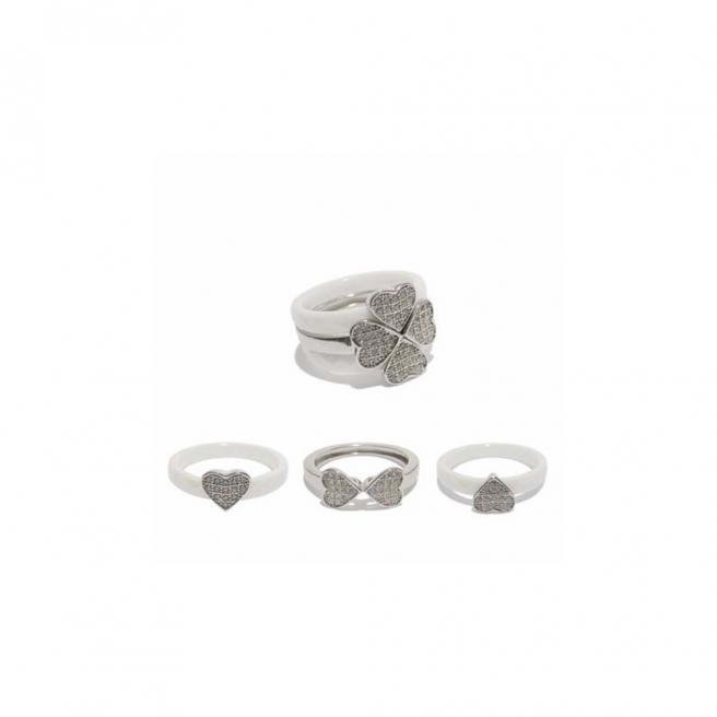 【FALAIYA x LA BELLE VIE】Rings 3 in 1 luckyheart with white ceramic and white oxyde_JF1428cew