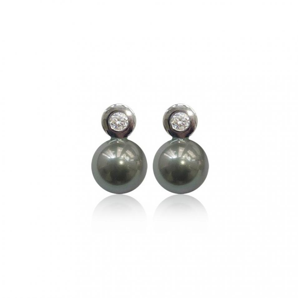 【FALAIYA x LA BELLE VIE】synthetic round pearl with oxyde zirconium setted earrings_JE0148