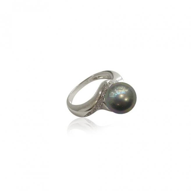 【FALAIYA x LA BELLE VIE】synthetic round pearl with an oxyde zirconium setted ring_SJ0001