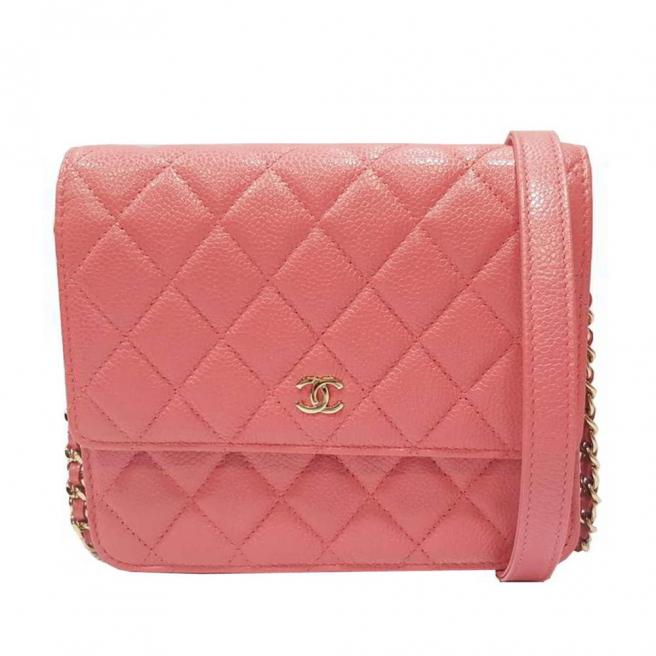 【CHANEL】Lychee leather gold buckle WOC bag