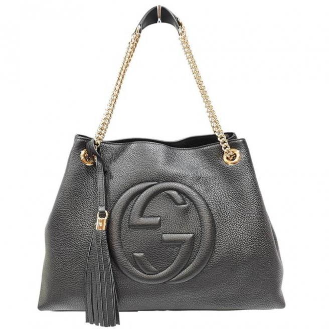 【GUCCI】SOHO double G LOGO fringed shoulder bag