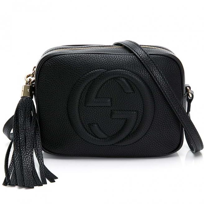 【GUCCI】SOHO DISCO series large LOGO fringed calf leather shoulder bag